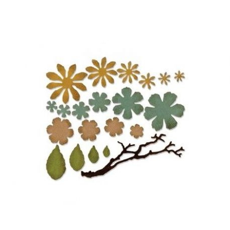 Troquel Sizzix THINLITS Small tattered florali by Tim Holtz