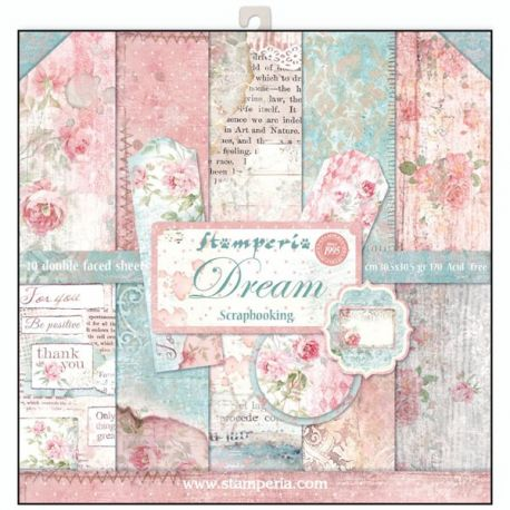 Bloc 10 hojas de papel Scrap Stamperia Dream