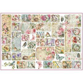 Papel de arroz Stamperia 48x33 Flores con abecedario
