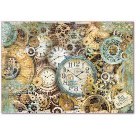 Papel de arroz Stamperia 48x33 Engranajes y relojes