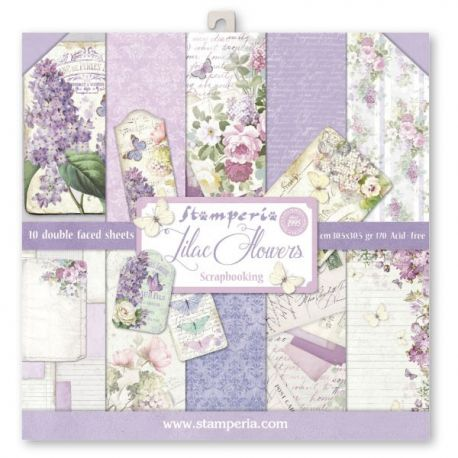 Bloc 10 hojas de papel Scrap Stamperia Lilac