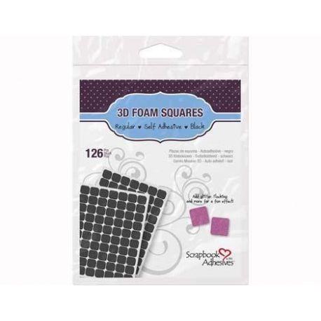 Adhesivo espuma 3D cuadrados negros 126 unidades de 11x12mm-Scrapbook Adhesives