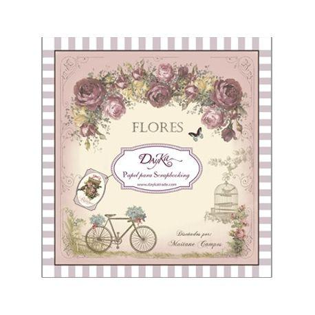 """Bloc 24 hojas surtidas """"Flores"""" 20x20cm"""