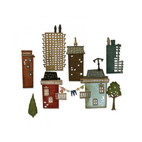 Troquel Sizzix THINLITS Cityscape suburbia by Tim Holtz