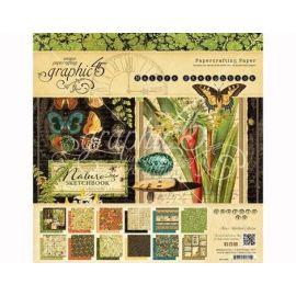 Bloc 24 papeles surtidos Nature Sketchbook de Graphic 45 30x30cm