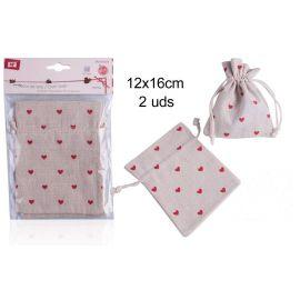 Set de 2 sacos de tela corazones