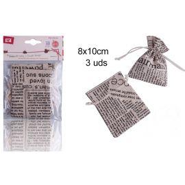 Set de 3 sacos de tela periódico
