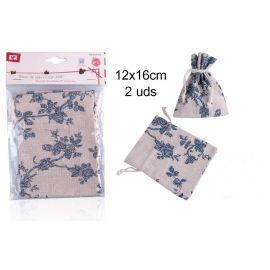 Set de 2 sacos de tela con flores azules