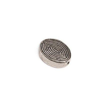 Cuenta metálica ovalada relieve espiral FTP