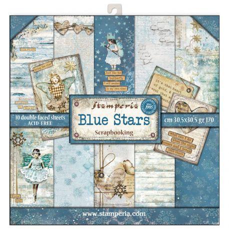 Bloc 10 hojas de papel Scrap Stamperia Blue Stars