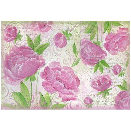 Papel de arroz Alta calidad 48x33 Fondo rosa con Rosas