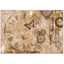 Papel de arroz Stamperia 48x33 Steampunk Gears, Laces, Butterflies