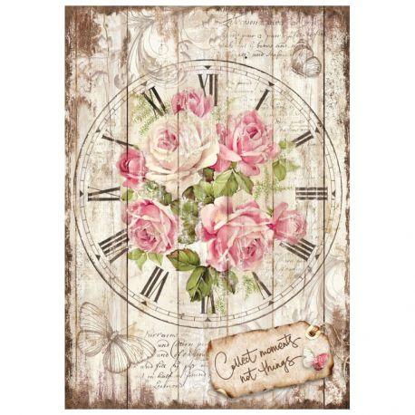 Papel de arroz DinA4 Sweet Time Clock Bouquet