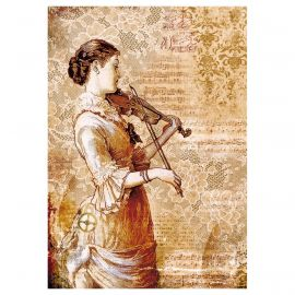 Papel de arroz DinA4 Steampunk Woman with violin