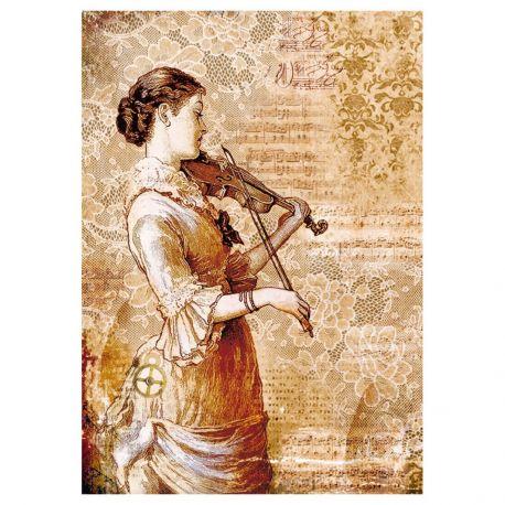 Papel de arroz DinA4 Steampunk Woman with violin
