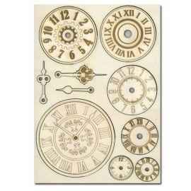 """Set de maderas """"Relojes"""" Stamperia A5"""