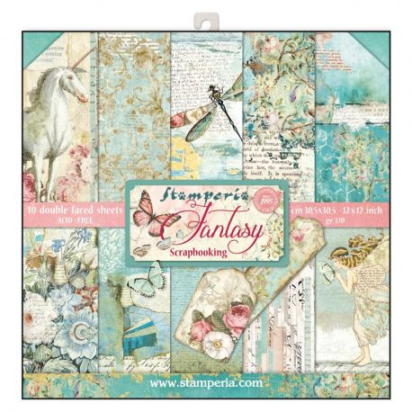 Bloc 10 hojas de papel Scrap Stamperia Wonderland