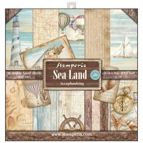 Bloc 10 hojas de papel Scrap Stamperia Sea Land
