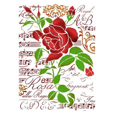 """Stencil 21x29.7cm """"Rose and music"""" de Stamperia"""