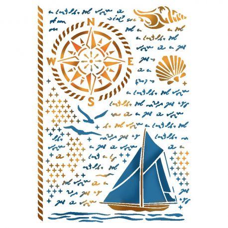 """Stencil 21x29.7cm """"Sea Land"""" de Stamperia"""