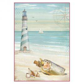 Papel de arroz DinA4 Sea Land lighthouse