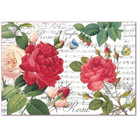 Papel de arroz Stamperia 48x33 Red Roses and music