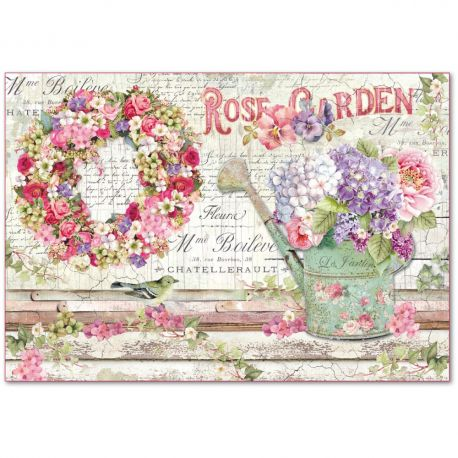 Papel de arroz Stamperia 48x33 Rose Garden