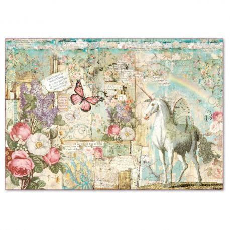 Papel de arroz Stamperia 48x33 Wonderland Unicorn