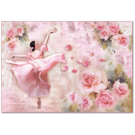 Papel de arroz Stamperia 48x33 Dancer with petals