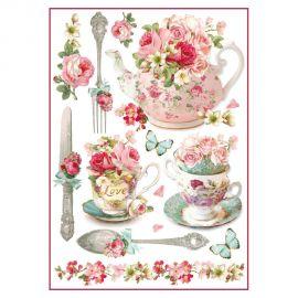 Papel de arroz DinA4 Floral mugs and tea