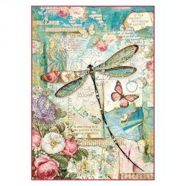 Papel de arroz DinA4 Wonderland dragonfly