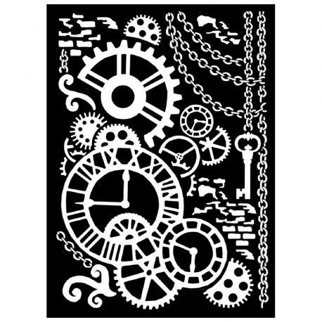 Stencil Stamperia 20x25cm y 0.5mm de espesor Steampunk Mechanism