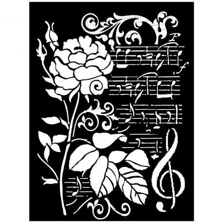 Stencil Stamperia 20x25cm y 0.5mm de espesor Rose and Music