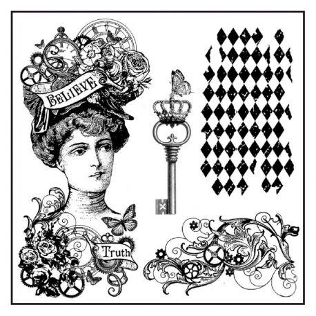 """Sello de alta definición """"Steampunk Woman"""" de Stamperia"""