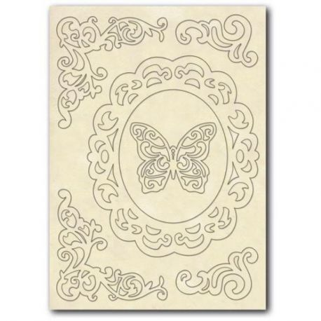 """Set de maderas """"Corners and butterfly"""" Stamperia A5"""