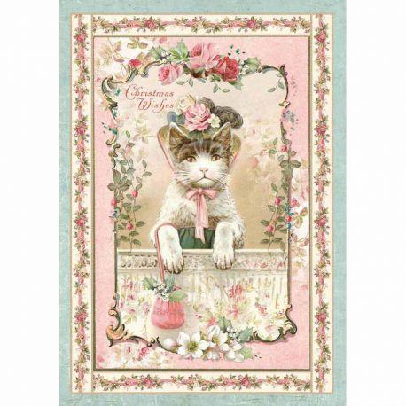 Papel de arroz DinA4 Pink Christmas Kitten