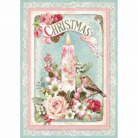 Papel de arroz DinA4 Pink Christmas candle