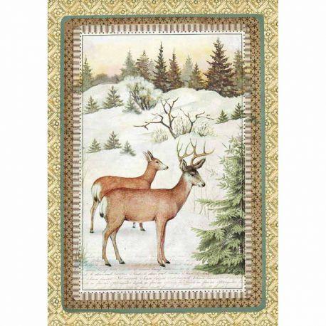 Papel de arroz DinA4  Winter Botanic reindeer