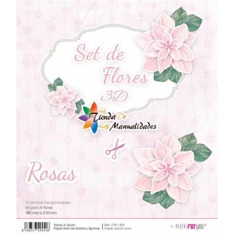 Kit recortables Rosas - Papel scrap Papers for You