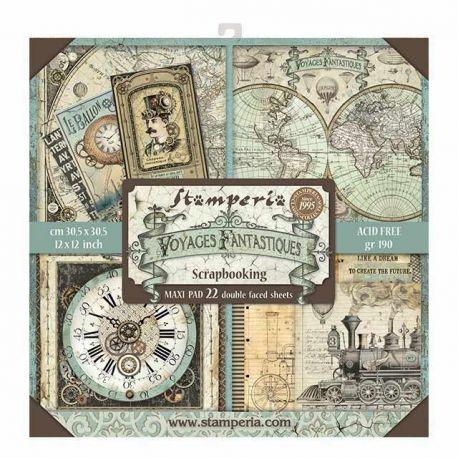 Bloc 22 hojas de papel Scrap Stamperia Voyages Fantastiques