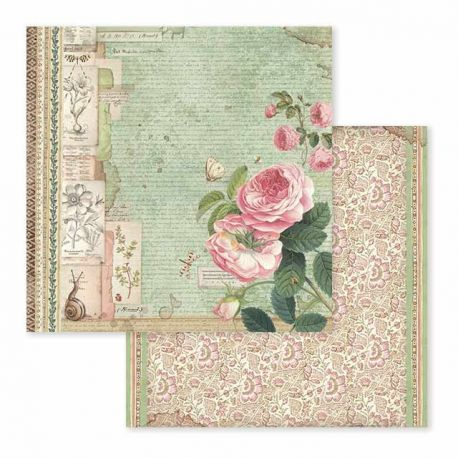 Papel de Scrap Stamperia Spring Botanic english roses with snail