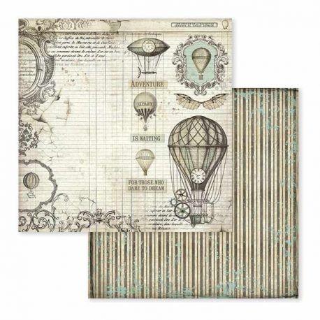 Papel de Scrap Stamperia Voyages Fantastiques air balloon