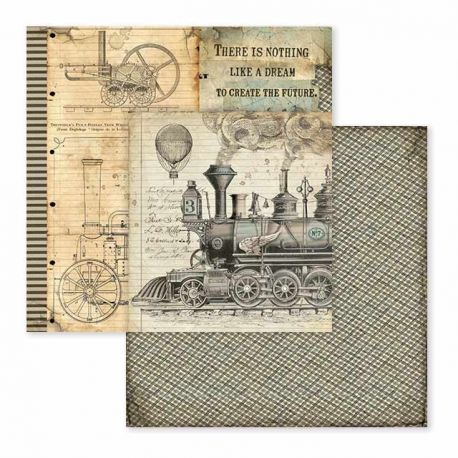 Papel de Scrap Stamperia Voyages Fantastiques stream train