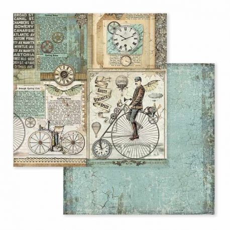Papel de Scrap Stamperia Voyages Fantastiques retro bicycle