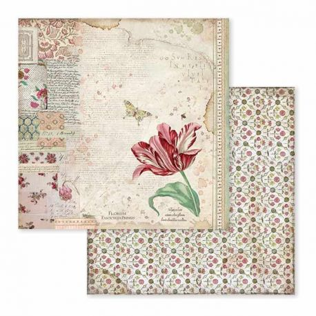 Papel de Scrap Stamperia Spring Botanic red tulip