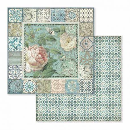 Papel de Scrap Stamperia Azulejo frame with rose