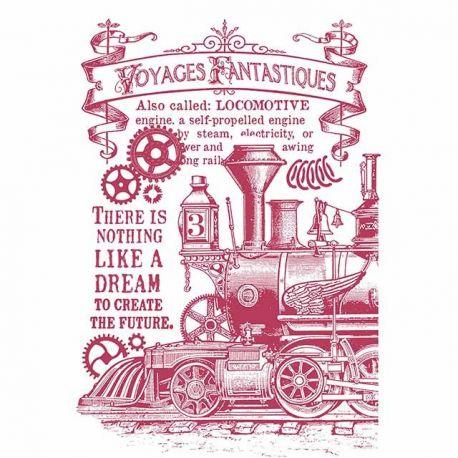 """Stencil 21x29.7cm """"Maquina de tren"""" de Stamperia"""