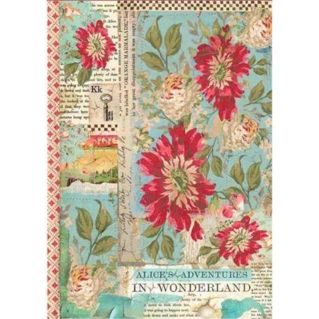 Papel de arroz DinA4 Alice Red Flower