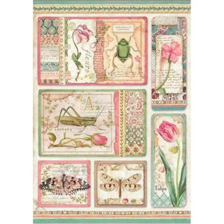 Papel de arroz DinA4 Botanic English Roses