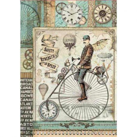 Papel de arroz DinA4 Voyages Fantastiques Retro Bicycle